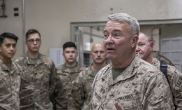 U.S. Marine Corps Gen. Kenneth F. McKenzie Jr., the commander of U.S. Central Command, speaks to U.S. soldiers in Afghanistan in 2019.