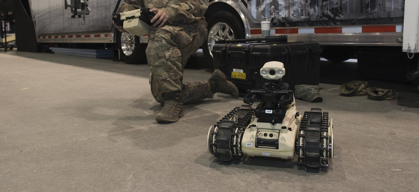 EOD from Mountain Home Air FORce Base visit the Ford Center in Idaho during the Robot Convention March 29, 2019.