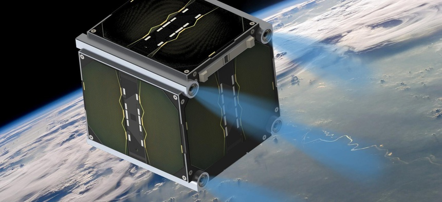 An artist rendition of Morpheus Space nano thrusters on a 1U CubeSat.
