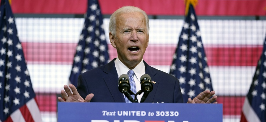 Democratic presidential candidate former Vice President Joe Biden speaks at campaign event at Mill 19 in Pittsburgh, Pa., Monday, Aug. 31, 2020.