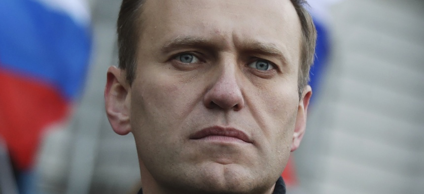 Saturday, Feb. 29, 2020, Russian opposition activist Alexei Navalny takes part in a march. Navalny recently remerged from a coma that German doctors say was caused by the Russian nerve agent Novichok.