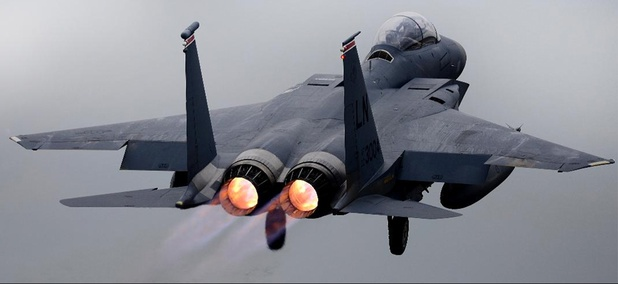 An F-15E Strike Eagle assigned to the 494th Fighter Squadron takes off for a training sortie at RAF Lakenheath, U.K., Oct. 26, 2018. The 494th FS trains regularly to ensure RAF Lakenheath brings unique air combat capabilities to the fight.