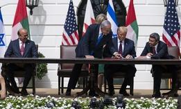 Bahrain Foreign Min. Khalid bin Ahmed Al Khalifa, left, Israeli Prime Minister Benjamin Netanyahu, President Donald Trump, and UAE Foreign Min. Abdullah bin Zayed al-Nahyan at the Abraham Accords signing, the White House, Tuesday, Sept. 15, 2020.