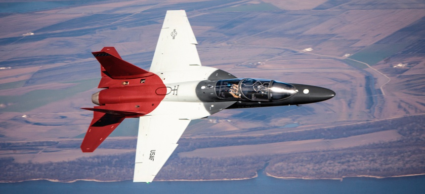 A Boeing T-7A Red Hawk jet on a test flight.