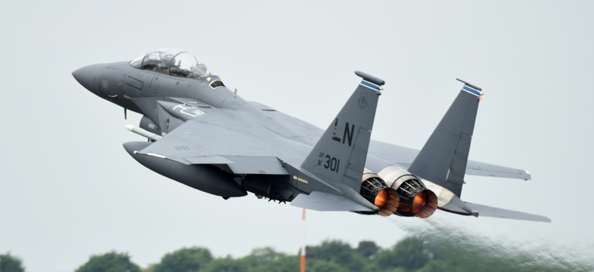 An F-15E Strike Eagle assigned to the 492nd Fighter Squadron takes off from RAF Lakenheath, United Kingdom, May 27, 2020.