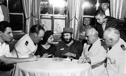 Fidel Castro aboard MS Berlin North German Lloyd cruise ship in Havana harbor. Left to right: First officer Ernest Hankiewicz; captain's daughter Marita Lorenz; Castro; Capt. Heinrich Lorenz, chief enginer Karl Kase.