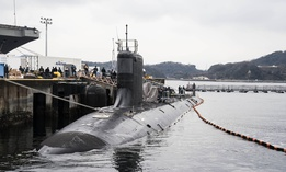 The Virginia-class attack submarine USS Mississippi (SSN 782) moors at Fleet Activities Yokosuka, Japan.