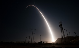 An unarmed Minuteman III intercontinental ballistic missile launches during an operational test at 12:03 a.m., PDT, April 26, from Vandenberg Air Force Base, Calif.