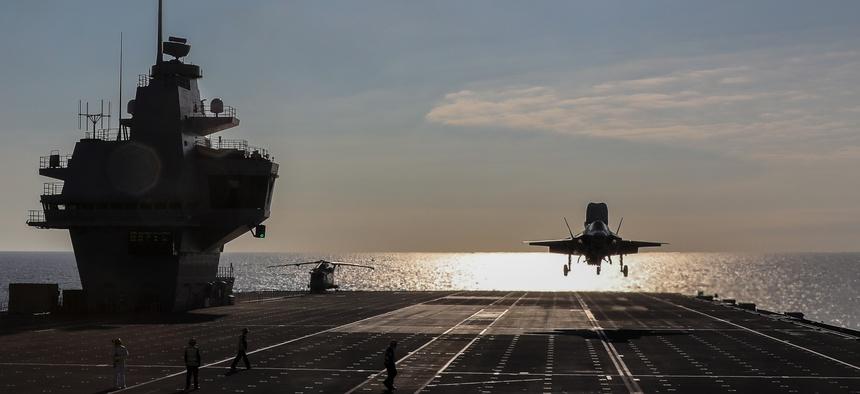 An F-35B lands aboard the Royal Navy aircraft carrier HMS Queen Elizabeth.
