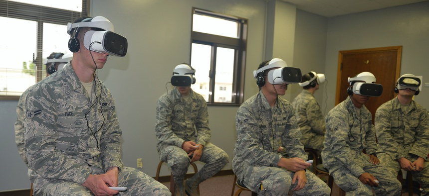 Airmen assigned to the 18th Maintenance Group use virtual reality headsets to review maintenance tasks March 28, 2019, at Kadena Air Base, Japan.