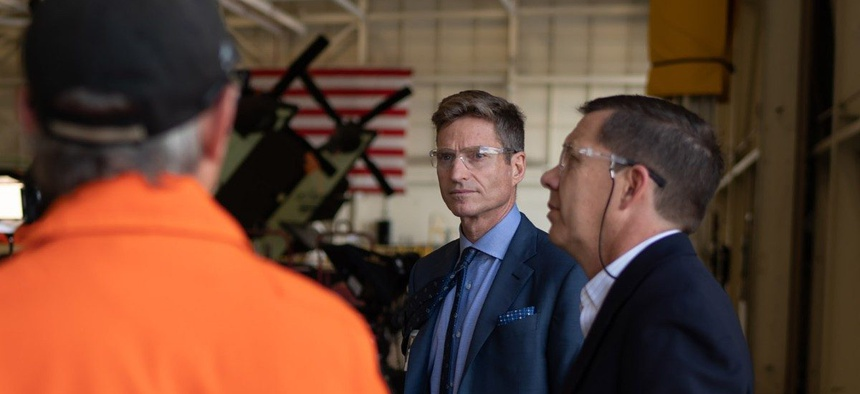 Lockheed Martin CEO James Taiclet at one of the company's Sikorsky helicopter factories.