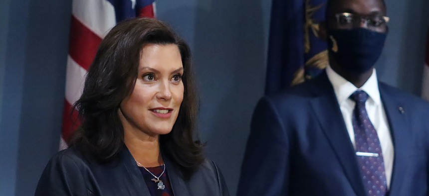 In this Sept. 2, 2020, photo, Gov. Gretchen Whitmer addresses the state during a speech in Lansing, Mich.