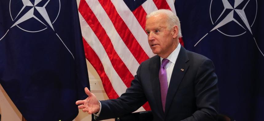 Then-U.S. Vice President Joe Biden met with NATO Secretary General Jens Stoltenberg in Munich, Germany, in 2015.