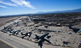 Nellis Air Force Base, Nev., shown hosting the 2014 Nellis Open House, is among the U.S. bases experimenting with 5G.