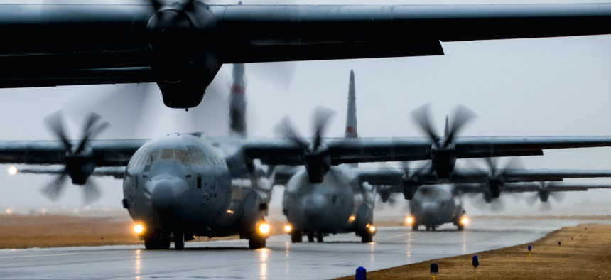 Four C130J Super Hercules depart Quonset Air National Guard base for an Operations Off-Station Trainer, Feb. 6, 2020, in North Kingstown, R.I.