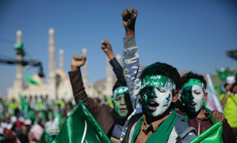 Supporters of Shiite rebels, known as Houthis, chant slogans as they attend a celebration of moulid al-nabi, the birth of Islam's prophet Muhammad in Sanaa, Yemen, Thursday, Oct. 29, 2020.