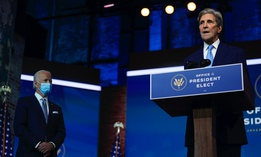President-elect Joe Biden's climate envoy nominee former Secretary of State John Kerry speaks at The Queen theater, Tuesday, Nov. 24, 2020, in Wilmington, Del.