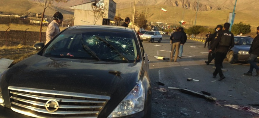 This photo shows the scene where Iranian nuclear scientist Mohsen Fakhrizadeh was killed on Nov. 27 by unknown assailants in east of Tehran.
