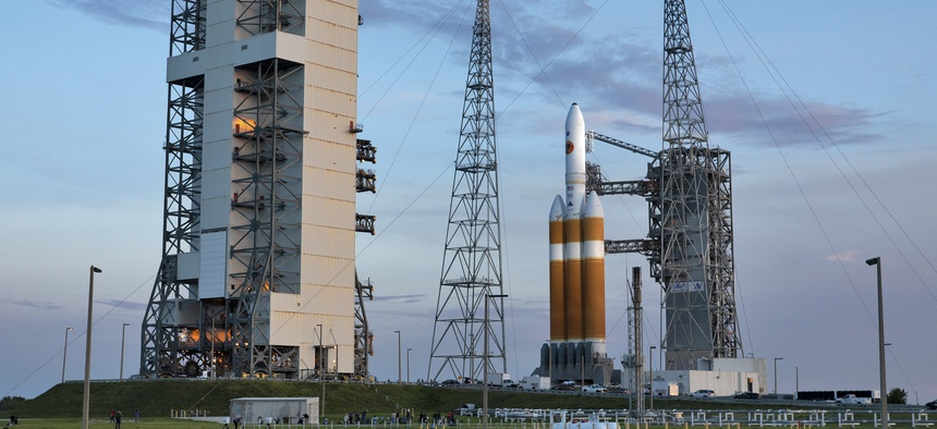 A United Launch Alliance Delta IV Heavy rocket at Cape Canaveral Air Force Station.