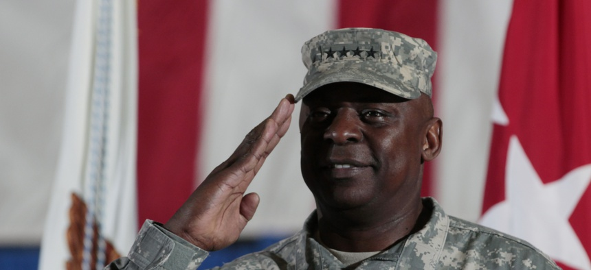 Gen. Lloyd J. Austin III, participates in a ceremony at Andrews Air Force Base, Md., Tuesday, Dec. 20, 2011, marking the return of the United States Forces-Iraq Colors and the end of the war in Iraq.