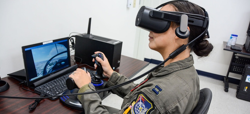 A trainee using the The Joint Immersive Training System  prototype.
