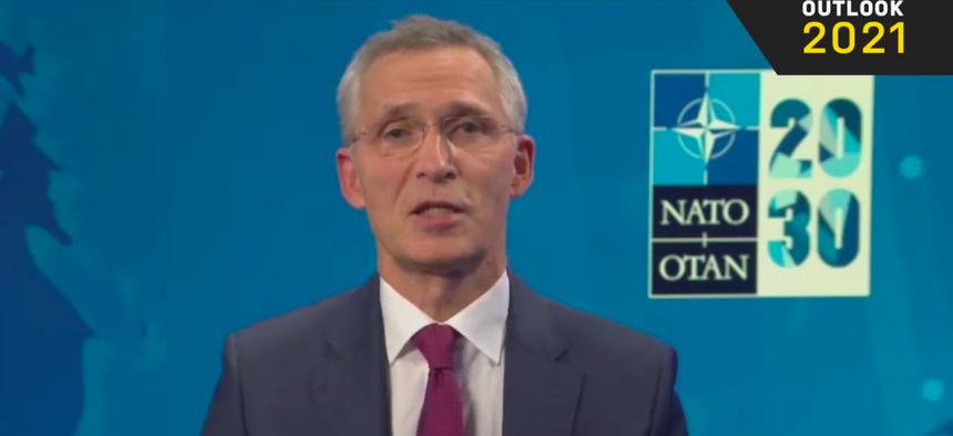 NATO Secretary General Jens Stoltenberg speaks to the virtual Defense One Outlook 2021 event, Thursday, Dec. 10, 2020.