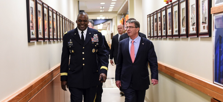 Secretary of Defense Ash Carter and General Lloyd Austin United States Central Command tour the facilities on Jan. 14, 2016.