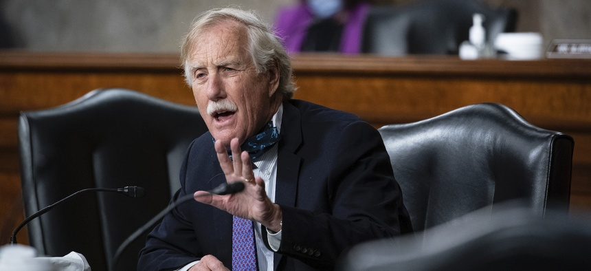 Sen. Angus King, I-Maine, speaks as Kenneth Braithwaite, nominated to be Secretary of the Navy, Gen. Charles Q. Brown, Jr., nominated for reappointment to Chief of Staff of the U.S. Air Force and James Anderson,