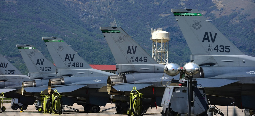 F-16 Fighting Falcons sit on the flightline at Aviano Air Base, Italy, April 19, 2018.