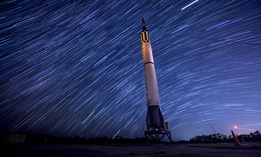 The park on Cape Canaveral, Fla. showcases several pieces of equipment that were monumental to the development of Air Force Space Command. Here, 216 photos captured over a 90 minute period are layered over one another, making the star trails come to life.