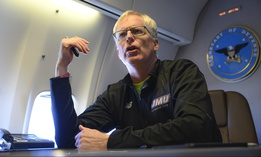 Acting Defense Secretary Chris Miller speaks to reporters on a government aircraft en route to Joint Base Andrews, Md., Jan. 14, 2021