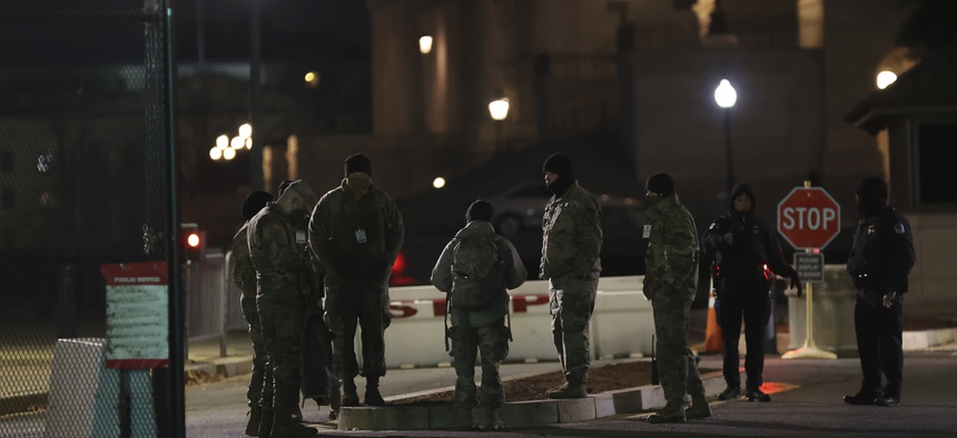 The National Guard at the US Capitol building in the wake of the Jan. 6 attack.