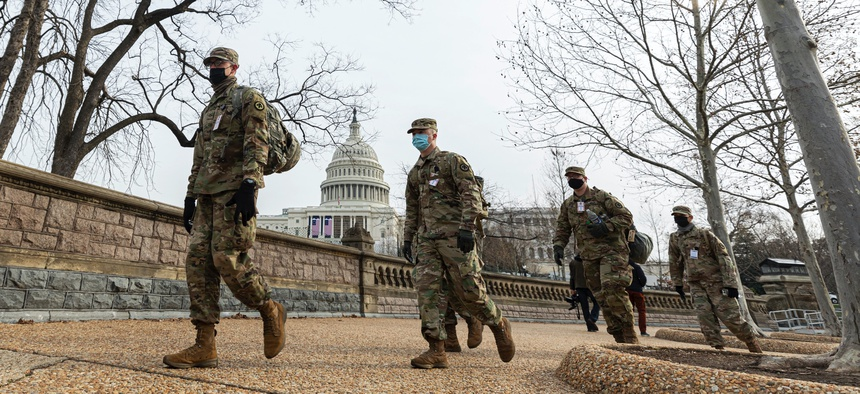 National Guardmen on U.S. Capitol security detail. Several other Guardsmen were removed after extra screening for potential extremists in the ranks.