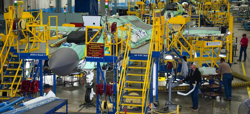 Lockheed Martin employees work on the F-35 Lightning II joint strike fighter production line in Fort Worth, Texas.