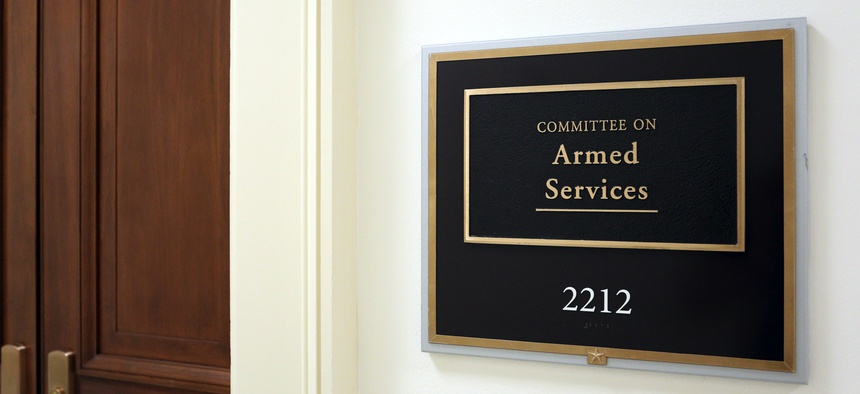 A sign at the entrance to a House Armed Services Committee hearing room in Washington, D.C.