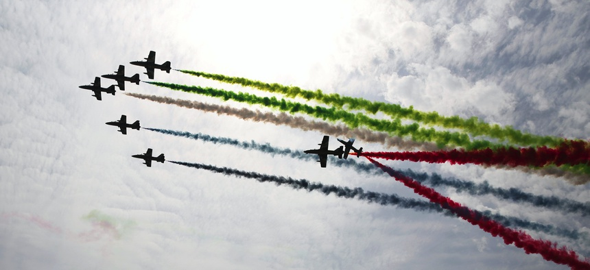An airshow at the 2017 International Defense Exhibition and Conference, or IDEX, in Abu Dhabi, United Arab Emirates.
