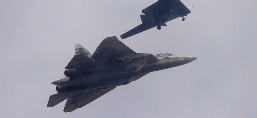 A Russian Sukhoi S-70 Okhotnik heavy UCAV and Sukhoi Su-57 fighter jet made their first paired flight in September 2019.