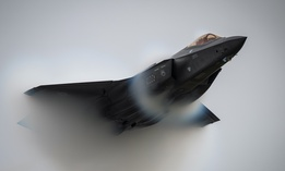 "Air Force Capt. Andrew ""Dojo"" Olson, commander of the F-35 Demonstration Team, performs a high-speed pass during the Oregon International Airshow in McMinnville, Ore., Sept. 21, 2019."