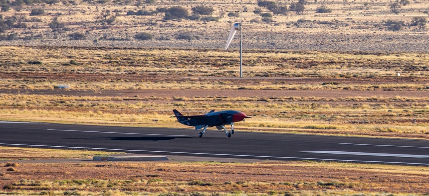 A new Boeing-made drone on its first flight last week.