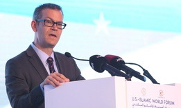 Colin Kahl, then national security advisor to Vice President Biden, speaks at the US-Islamic World Forum in 2015.