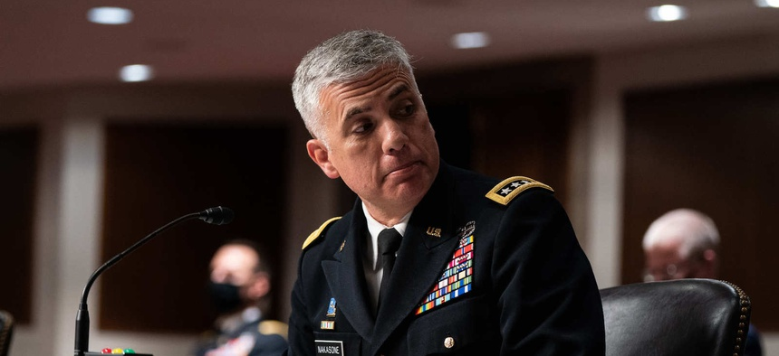 Gen. Paul M. Nakasone, Director of the National Security Agency listens during a Senate Armed Services Committee hearing March 25, 2021 on Capitol Hill in Washington DC.