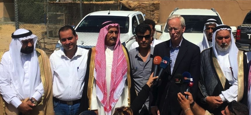 William Roebuck, then Deputy Special Envoy for the Global Coalition Against ISIS, meets with Sunni Arab tribal leaders and the head of the Deir a-Zour civil council.
