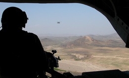 A U.S. Chinook helicopter flies over southeastern Afghanistan between Tarin Kowt and Kandahar.