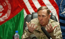 In 2011, Gen. David Petraeus spoke with media traveling with U.S. Defense Secretary Leon Panetta at Camp Eggers in Kabul, Afghanistan.